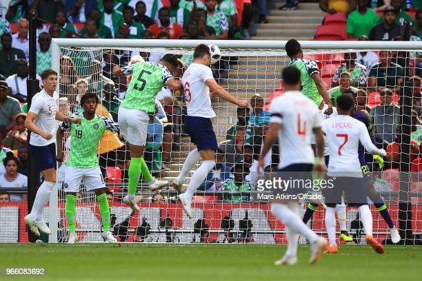Gary Cahill of England scores the opening goal during an International Friendly between England and Nigeria at Wembley Stadium on June 2 2018 in...