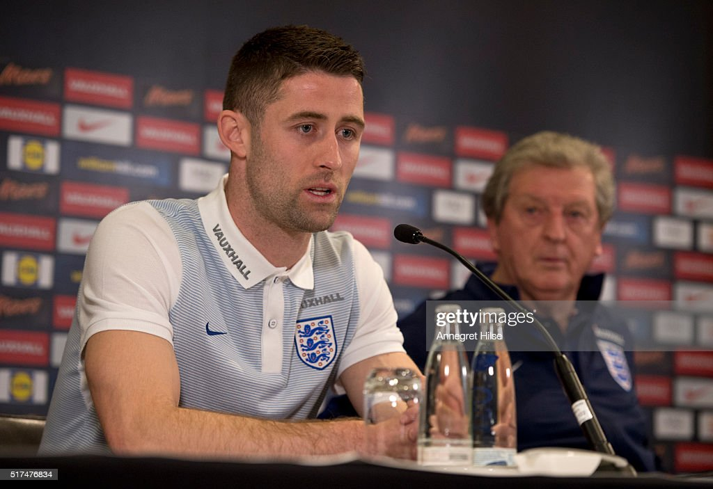 Gary Cahill of England speaks during a press conference, on the eve of their international friendly against Germany, at the Marriott Hotel on March 25, 2016 in Berlin, Germany.