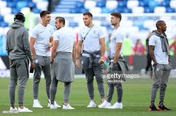 Gary Cahill of England speaks with teammates during a pitch inspection prior to the 2018 FIFA World Cup Russia group G match between England and...
