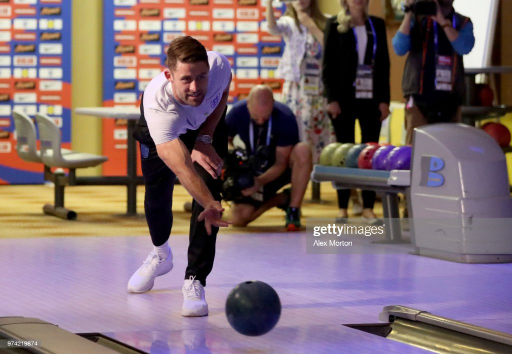 Gary Cahill of England takes part in some bowling during the England media access at Spartak Zelenogorsk Stadium ahead of the FIFA World Cup 2018 on June 14, 2018 in Saint Petersburg, Russia.