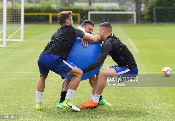 Gary Cahill Olivier Giroud and Ross Barkley of Chelsea during a Strength and Conditioning training session at Chelsea Training Ground on May 16 2018...