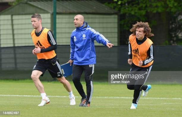 Gary Cahill Roberto Di Matteo David Luiz of Chelsea during a training session at the Cobham training ground on May 17 2012 in London England