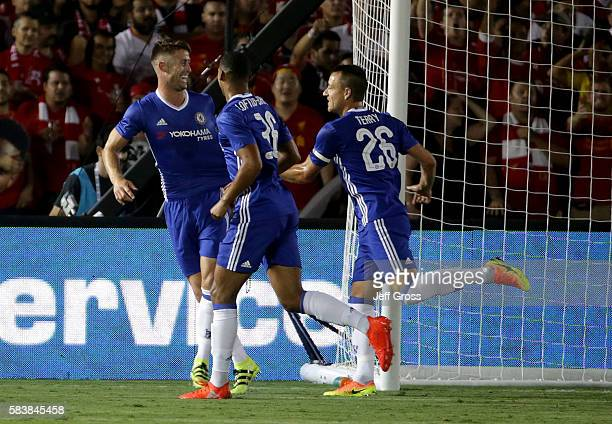 Gary Cahill Ruben LoftusCheek and John Terry of Chelsea celebrate Cahill's first half goal against Liverpool during the 2016 International Champions...