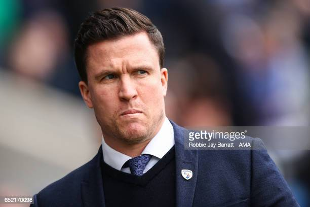 Gary Caldwell head coach / manager of Chesterfield during the Sky Bet League One match between Chesterfield and Shrewsbury Town at Proact Stadium on...