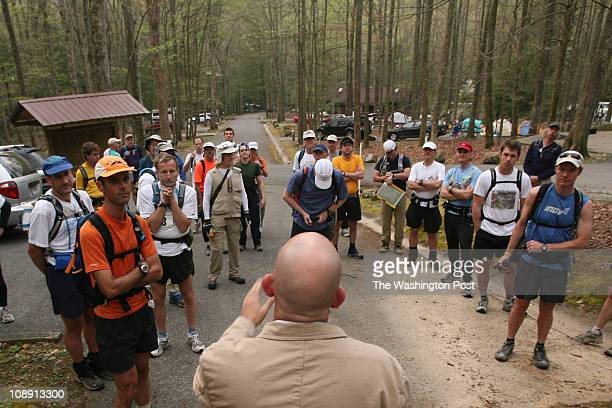 Gary Cantrell addresses the competitors moments before the start of the Barkley Marathon on March 31 2007 at the Frozen Head Lake State Park in...