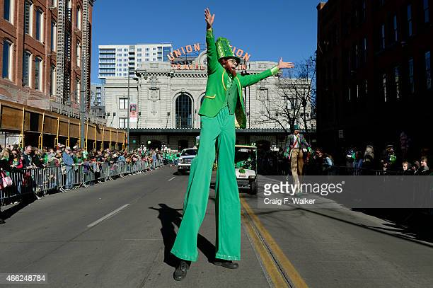 Gary Carnes aka Shorty marches in the Annual StPatricks day parade in Denver CO March 14 2015 More than 200000 people were expected to attend the...