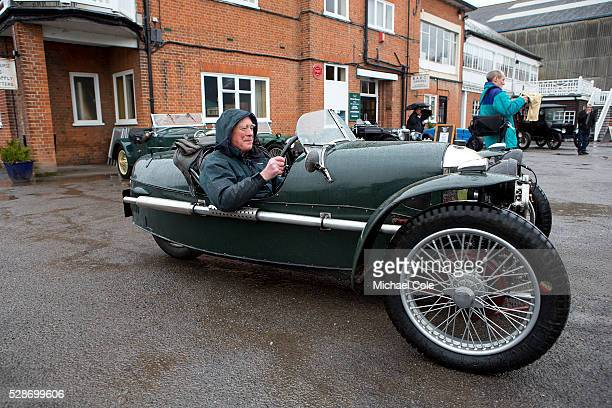 Gary Caroline in his 1928 Morgan Super Sports Aero Three Wheeler at The Double Twelve Motoring Festival Press Day at The Brooklands Museum 26th Feb...