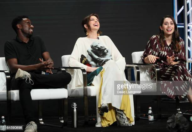 Gary Carr Anne Hathaway and Cristin Milioti of 'Modern Love' speak onstage during the Amazon Prime Video segment of the Summer 2019 Television...