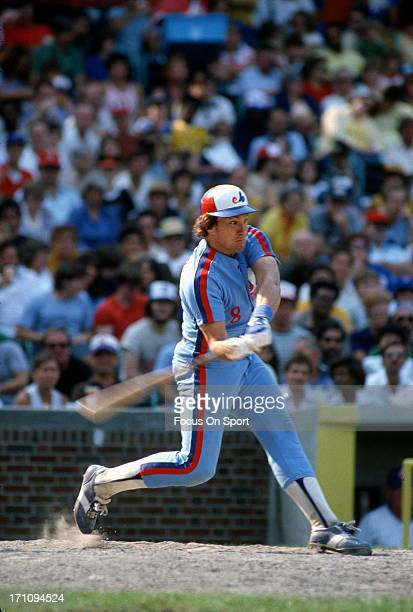 Gary Carter of the Montreal Expos bats against the Chicago Cubs during an Major League Baseball game at Wrigley Field circa 1983 in Chicago,...