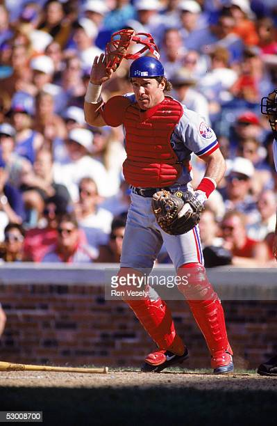 Gary Carter of the Montreal Expos looks on during a 1992 season game against the Chicago Cubs. Carter played for the Expos in 1974-84 and 1992.