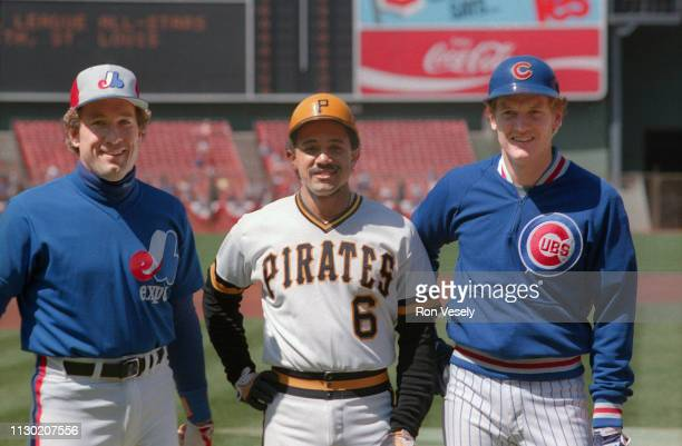 Gary Carter of the Montreal Expos, Tony Pena of the Pittsburgh Pirates, and Jody Davis of the Chicago Cubs pose before the MLB All Star game at...