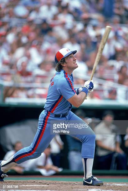 Gary Carter of the Montreal Expos watches the flight of the ball as he follows through on a swing during a 1982 MLB season game.