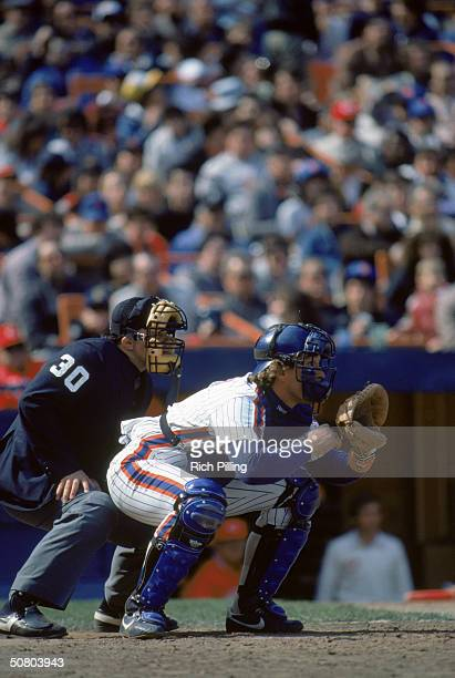 Gary Carter of the New York Mets positions to catch during a game circa 19851989 at Shea Stadium in Flushing New York