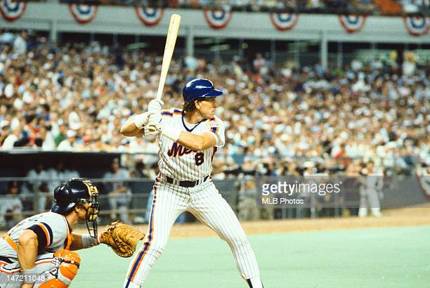 Gary Carter of tne New York Mets bats for the 1986 National League All-Star team in a game against the American League All-Stars on Tuesday July 15,...