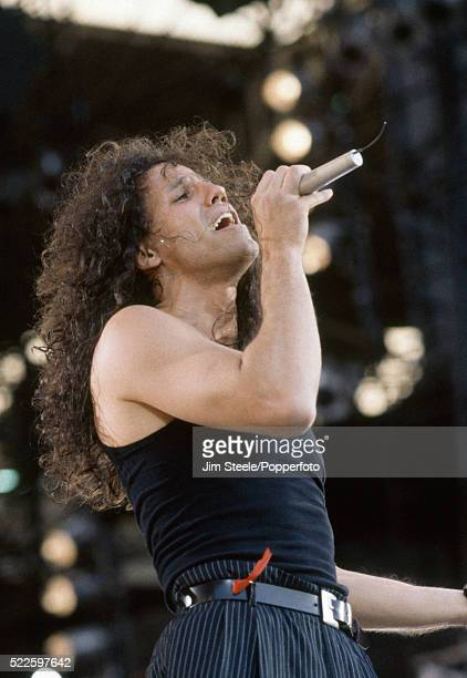 Gary Cherone of Extreme performing on stage during the Freddie Mercury Tribute Concert for Aids Awareness at Wembley Stadium in London on the 20th...