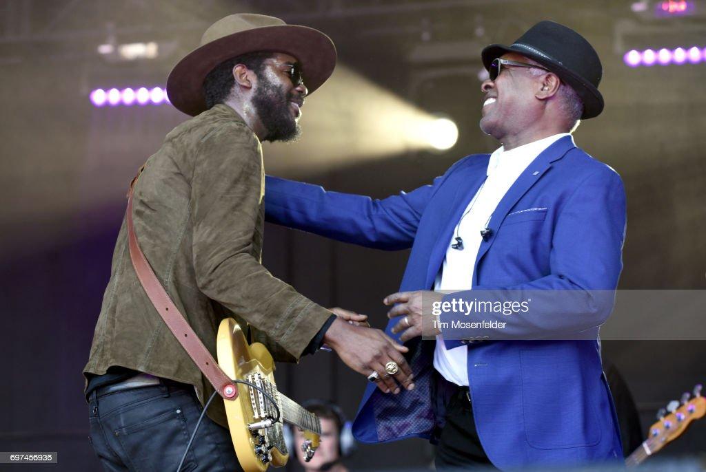 Gary Clark Jr. (L) and Booker T. Jones perform during the Monterey International Pop Festival 2017 at Monterey County Fairgrounds on June 18, 2017 in Monterey, California.