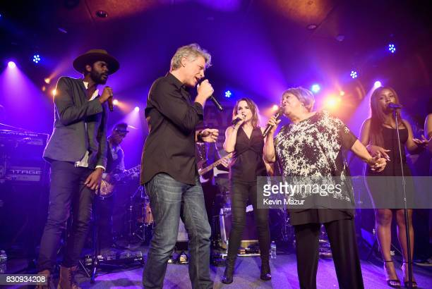 Gary Clark Jr Jon Bon Jovi and Mavis Staples perform onstage at Apollo in the Hamptons 2017 hosted by Ronald O Perelman at The Creeks on August 12...