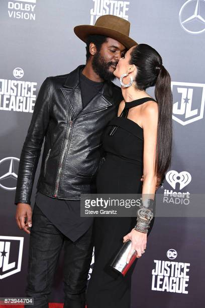 Gary Clark Jr Nicole Trunfio arrives at the Premiere Of Warner Bros Pictures' Justice League at Dolby Theatre on November 13 2017 in Hollywood...