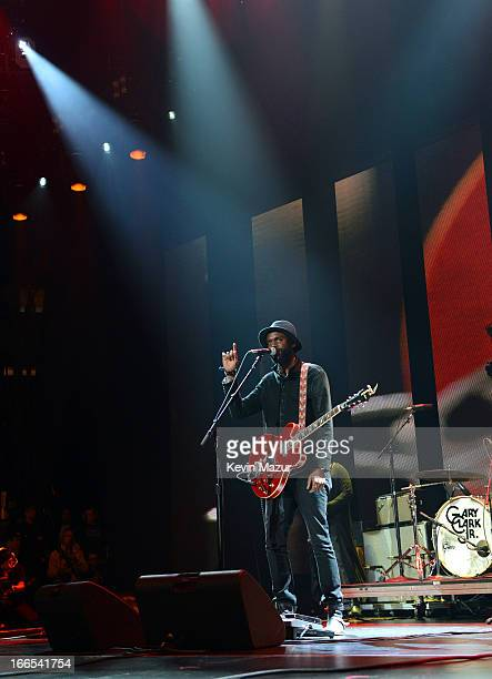 Gary Clark Jr performs on stage during the 2013 Crossroads Guitar Festival at Madison Square Garden on April 13 2013 in New York City