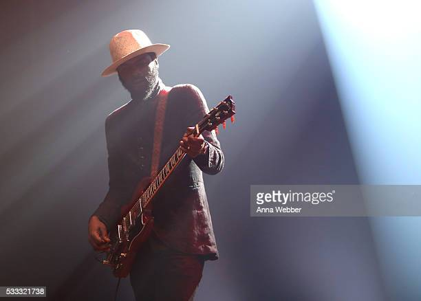 Gary Clark Jr performs on stage during Vulture Festival Governors Ball Present Gary Clark Jr And Albert Hammond Jr at Webster Hall on May 21 2016 in...