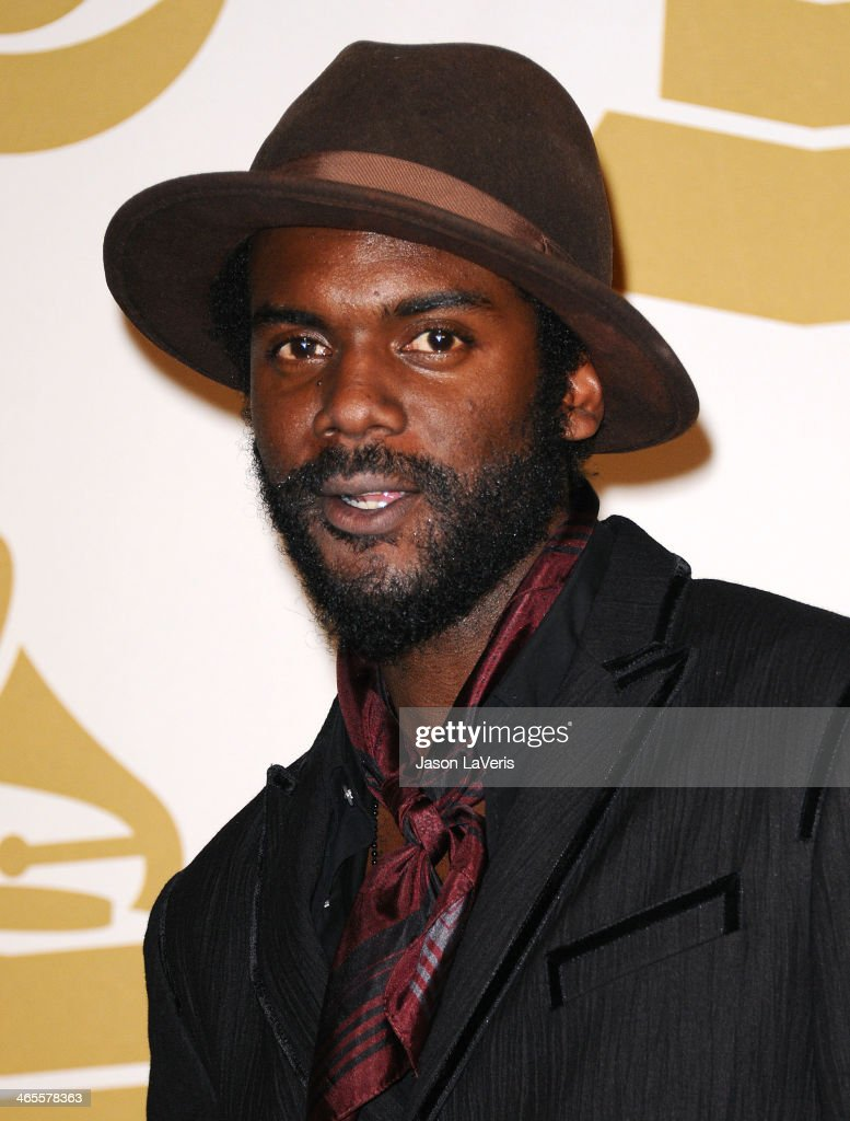 Gary Clark, Jr. poses in the press room at the 56th GRAMMY Awards at Staples Center on January 26, 2014 in Los Angeles, California.