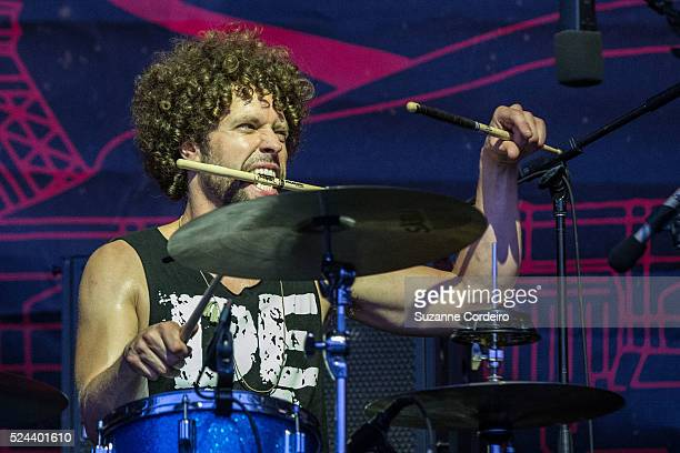 Gary Clark Jr's drummer Johnny Radelat performs at Zilker Park during ACL Music Festival on Saturday October 10 2015 in Austin Texas
