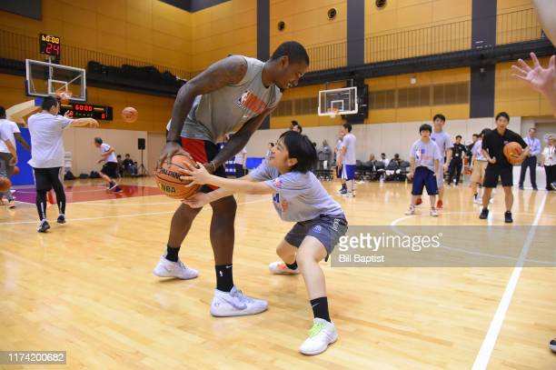 Gary Clark of the Houston Rockets participates during the NBA Cares Special Olympics Unified Clinic part of the 2019 NBA Japan Games at a training...