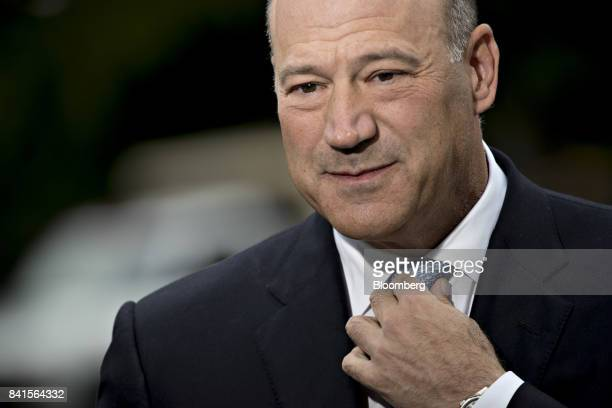 Gary Cohn director of the US National Economic Council adjusts his tie before a Bloomberg Television interview outside the White House in Washington...
