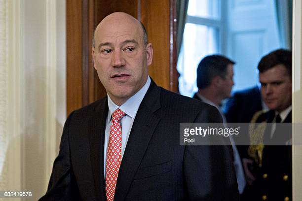 Gary Cohn director of the US National Economic Council arrives to a swearing in ceremony of White House senior staff in the East Room of the White...