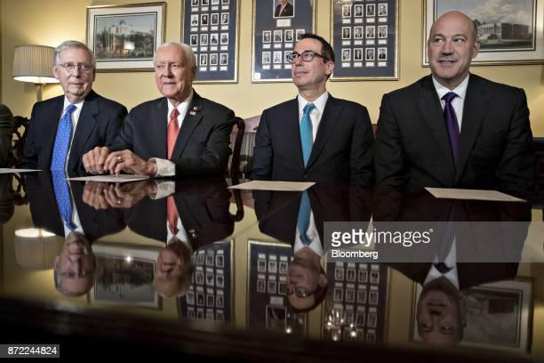 Gary Cohn director of the US National Economic Council from right Steven Mnuchin US Treasury secretary Senator Orrin Hatch a Republican from Utah and...