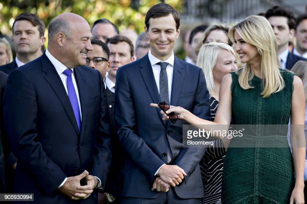 Gary Cohn director of the US National Economic Council left speaks with Ivanka Trump assistant to US President Donald Trump right and Jared Kushner...
