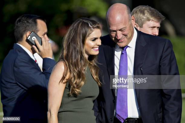 Gary Cohn director of the US National Economic Council right speaks with Hope Hicks White House director of strategic communications before a moment...