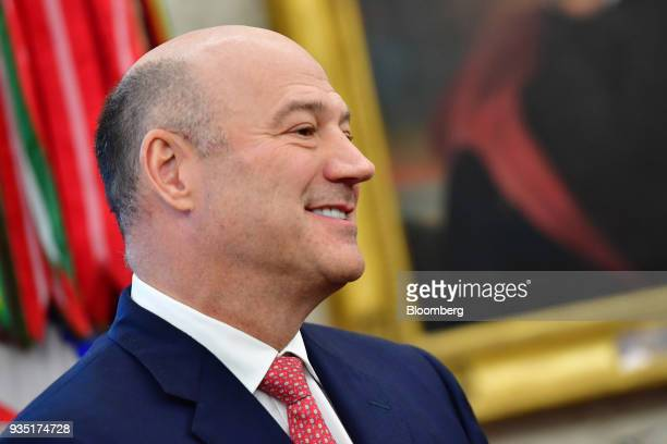 Gary Cohn outgoing director of the US National Economic Council smiles during a meeting with US President Donald Trump and Mohammed bin Salman Saudi...