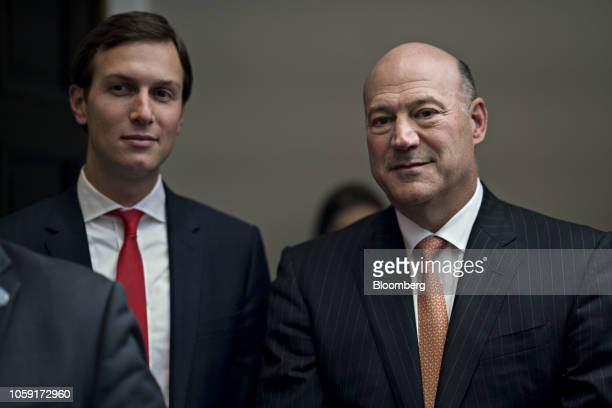Gary Cohn outgoing director of the US National Economic Council right and Jared Kushner senior White House adviser attend a ceremony before US...