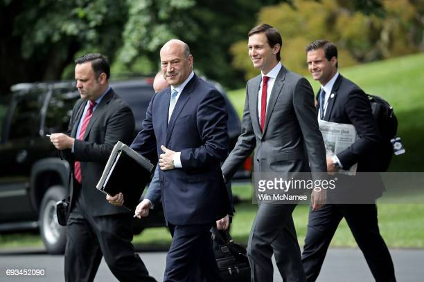 Gary Cohn White House chief economic advisor to US President Donald Trump and Trump's soninlaw and senior advisor Jared Kushner depart the White...