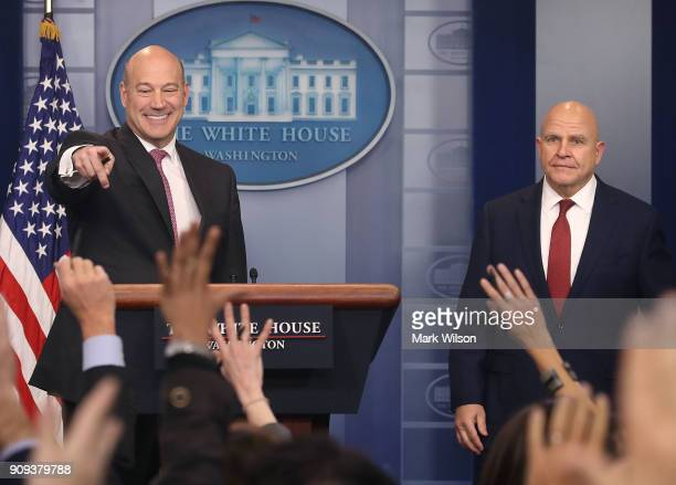 Gary Cohn White House Economic Advisor and National Security Advisor HR McMaster brief reporters on President Donald Trump's upcoming trip to the...