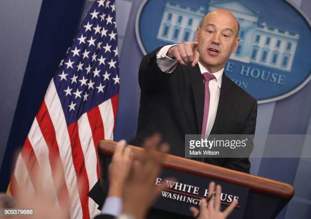 Gary Cohn White House Economic Advisor takes questions from the media during a briefing on President Donald Trump's upcoming trip to the World...