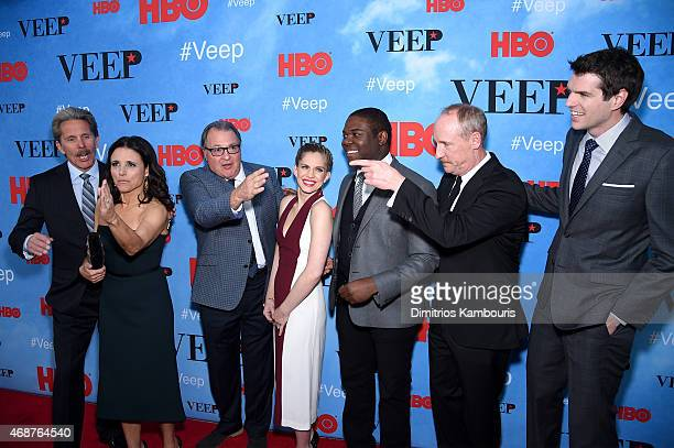 "Gary Cole, Julia Louis-Dreyfus, Kevin Dunn, Anna Chlumsky, Sam Richardson, Matt Walsh, and Timothy Simons attend the ""VEEP"" Season 4 New York..."
