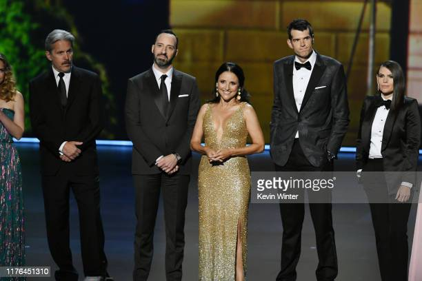 Gary Cole Tony Hale Julia LouisDreyfus Timothy Simons and Clea DuVall speak onstage during the 71st Emmy Awards at Microsoft Theater on September 22...