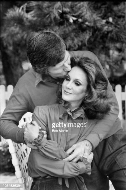Gary Collins actor and wife Mary Ann Mobley former Miss America in their garden December 9th 1980