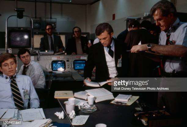 Gary Collins Ed Nelson Robert Culp extras appearing in the ABC tv movie 'Houston We've Got a Problem'
