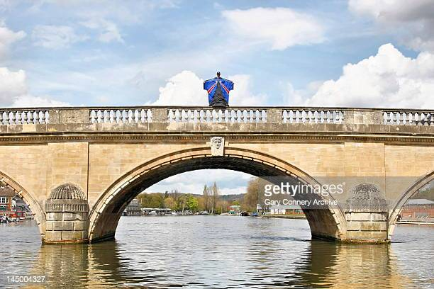 Gary Connery in the wingsuit standing on Henley bridge on May 2012 in Henley upon Thames England On Wednesday 23rd May 2012 Gary Connery professional...