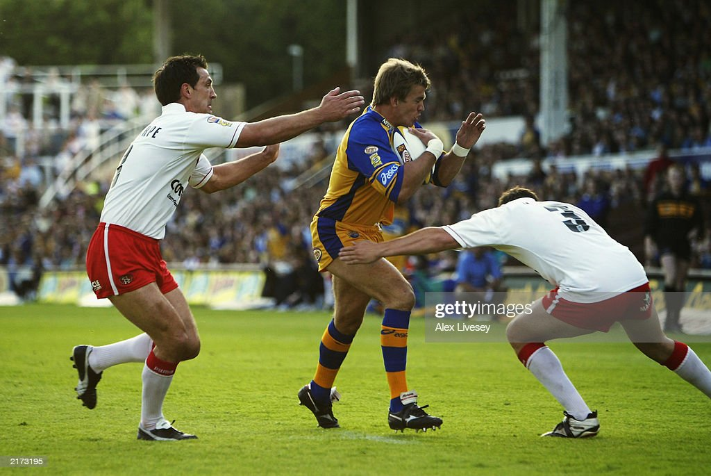 Gary Connolly of Leeds Rhinos is closed down by the St Helens defence during the Tetley's Super League match between Leeds Rhinos and St Helens held on June 13, 2003 at the Headingley Stadium in Leeds, England. Leeds Rhinos won the match 20-14.