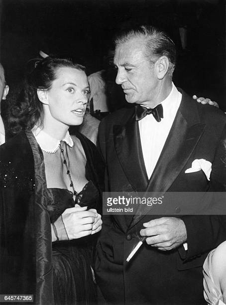 Gary Cooper Actor USA with Margot Hielscher at the Berlin Film Fetival