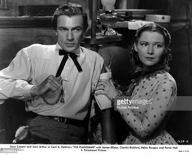 Gary Cooper and Helen Burgess star in 'The Plainsman', the story of Wild Bill Hickok and his friends, directed by Cecil B DeMille.
