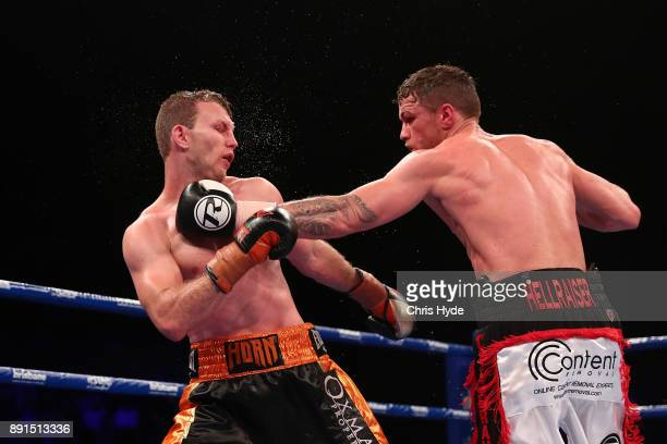 Gary Corcoran punches Jeff Horn during the WBO Welterweight Championship bout between Jeff Horn and Gary Corcoran at Brisbane Convention Exhibition...