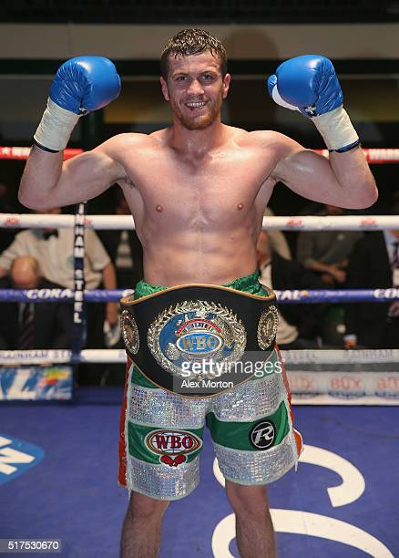 Gary Corcoran wears the WBO Intercontinental JuniorMiddleweight Championship belt after the WBO Intercontinental JuniorMiddleweight Championship...