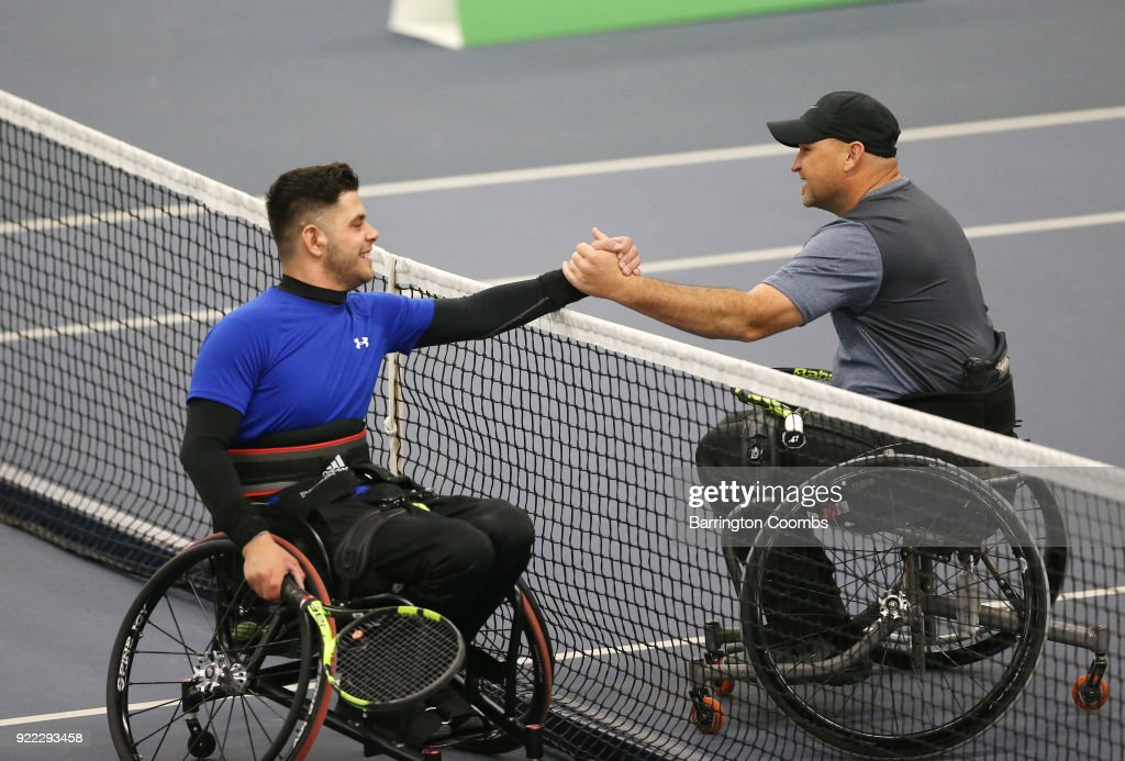 Gary Cox of Great Britain and Greg Hasterok of USA shake hands at the end of their match during the 2018 Bolton Indoor Wheelchair Tennis Tournament at Bolton Arena on February 21, 2018 in Bolton, England.