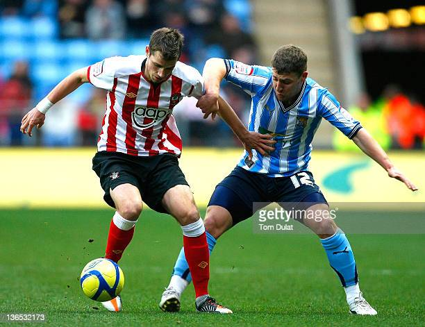 Gary Deegan of Coventry City and Morgan Schneiderlin of Southampton battle for the ball during the FA Cup 3rd round match between Coventry City and...