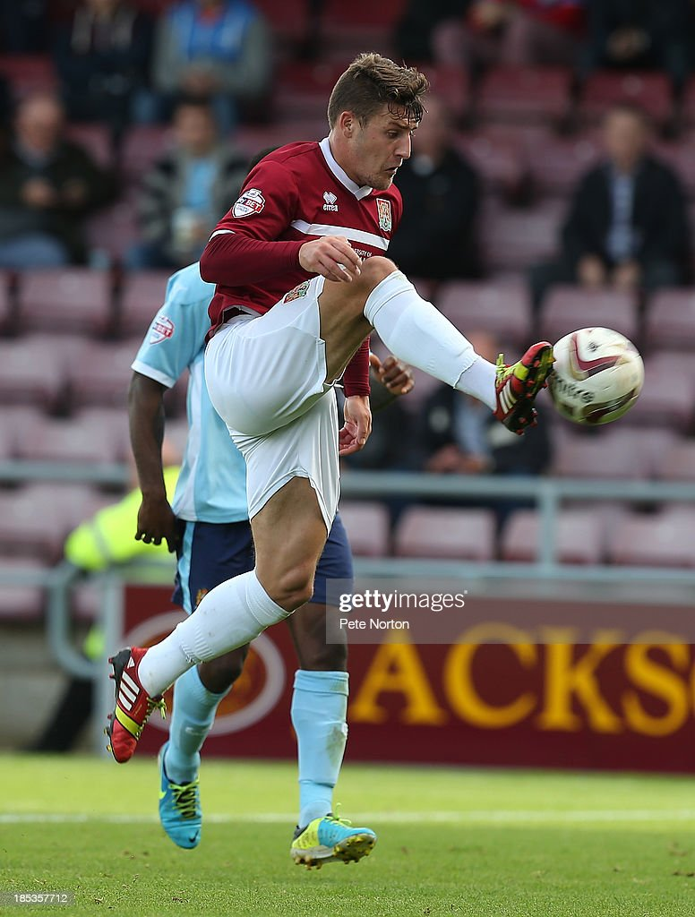 Gary Deegan of Northampton Town looks to control the ball during the Sky Bet League Two match between Northampton Town and Dagenham & Redbridge at Sixfields Stadium on October 19, 2013 in Northampton, England.